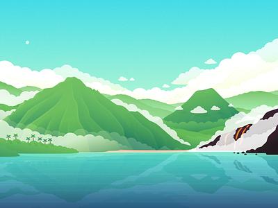 Healing Noni Landscape ocean beach volcano illustration vector hawaii landscape
