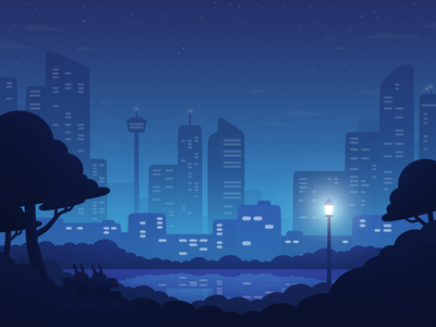 Stay the Night - City bunnies hotel landscape travel hopper city night illustration