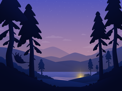 Stay the Night - Nature bunnies night landscape nature camping travel hopper illustration
