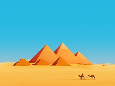Pyramids of Giza giza illustration pyramids camel egypt hopper landscape