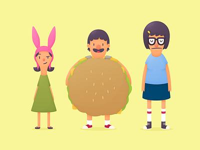 Belcher Brats bobs burgers kids belchers illustration