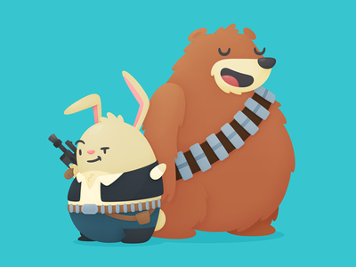 May the Bun Be With You scruffy looking nerf herder han solo star wars cute hopper chewbacca illustration