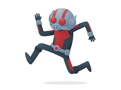 Ant-Man running avengers superhero marvel ant-man illustration