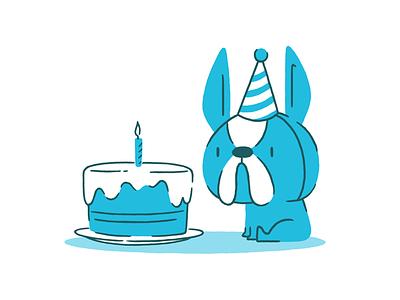 Kiindred - Birthday Pupper party hat woofer puppy doggo dog pupper cake illustration birthday