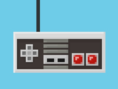 8-Bit NES Controller 8-bit controller nes illustration nintendo pixel print video games gaming retro button arrows cord art