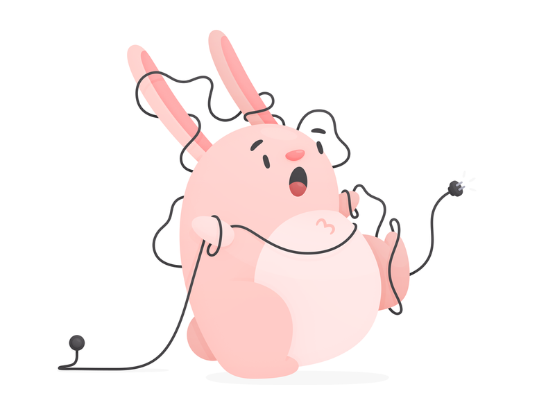 Lost Connection connection lost cable silly cute modal hopper illustration error bunny