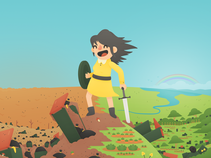 War on Waste landscape rainbow bin revolution hero cute waste compost illustration