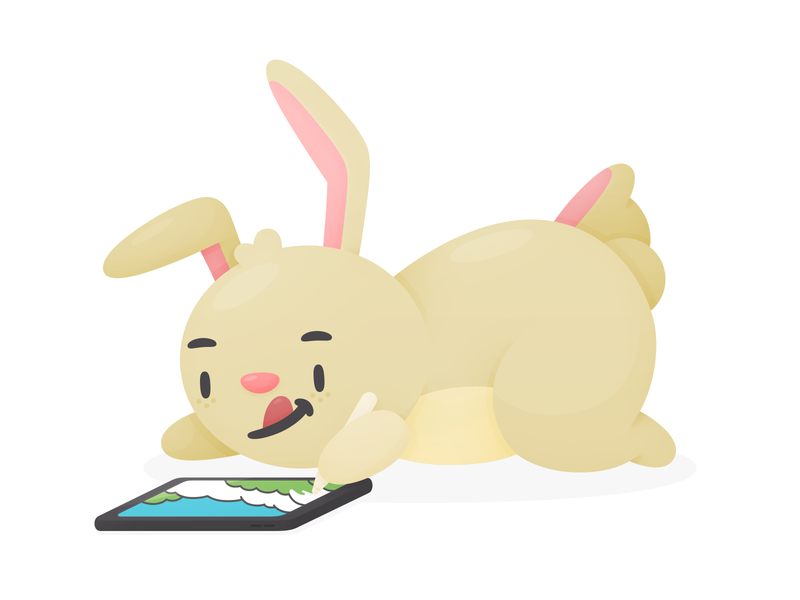 Colouring Bunnies character pencil colour app lake draw cute bunny illustration