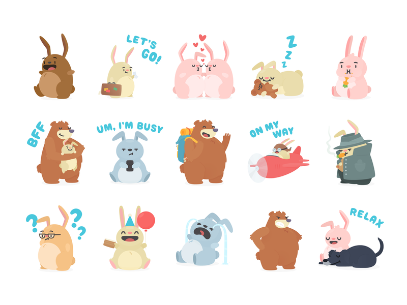 Message Stickers cute stickers travel hopper bunnies illustration