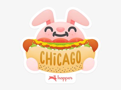 Chicago Sticker cute hotdog bunny hopper sticker chicago