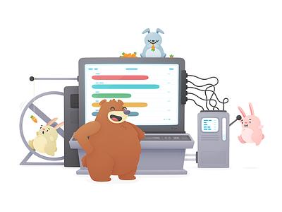 Algo Merch cute machine terminal graph carrot hopper bear bunnies illustration