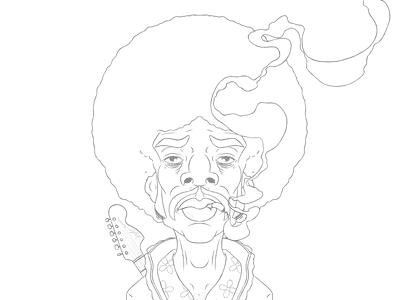 Hendrix Sketch afro sketch digital illustration smoke smoking guitar musician holler jimi hendrix moustache psychedelic portrait boardroom music joint cigarette singer caricature cartoon