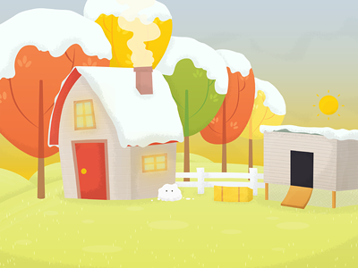 Another Game Background background game app snow landscape digital illustration sun morning dawn eyes hay shed house farm trees cyberdesign works vector harmonising hamsters iphone ipad mobile