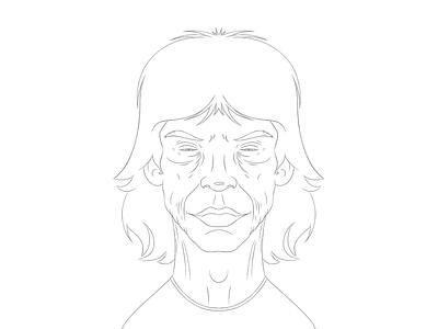 Jagger Sketch illustration digital sketch craggy old wrinkles holler mick jagger the rolling stones boardroom