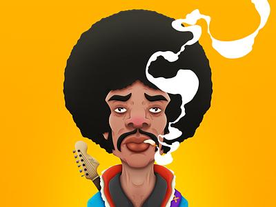Hendrix Final guitar smoking joint digital illustration holler boardroom jimi hendrix smoke singer cartoon musician caricature afro moustache cigarette psychedelic rock music portrait