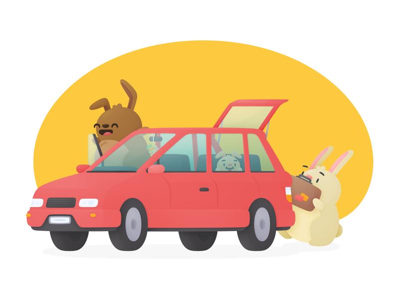 Car Rental rental travel bunnies hopper illustration car