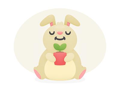 Hopper Trees Bun cute pot seedling offset carbon travel plant bunny illustration hopper