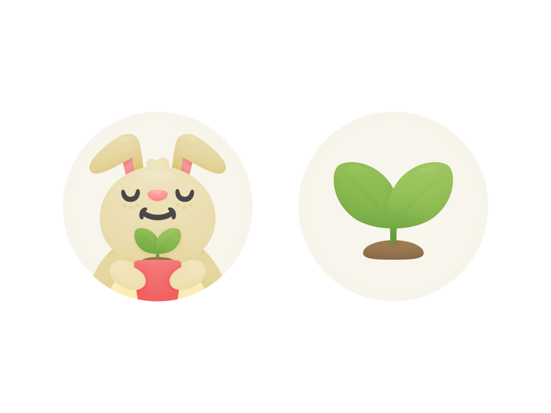 Hopper Trees Thumbs seedling offset carbon cute bunny trees travel hopper illustration thumbs