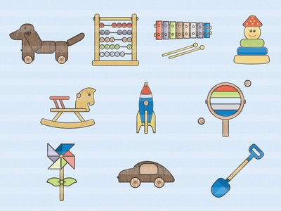 Wooden toys icon pack