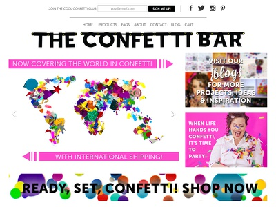 The Confetti Bar (New Homepage) confetti store colorful clean landing page
