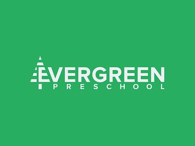 Evergreen Preschool Logo Redesign logo preschool vermont evergreen tree green branding