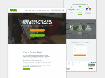 Time to Save - Website Redesign: Home piggy bank white green shopping invest savings money homepage