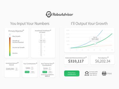 RoboAdvisor Concept investment income slider graph calculator financial
