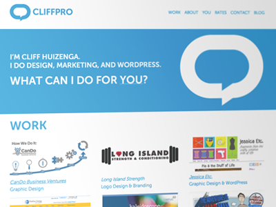 CP Minimal portfolio website design minimal clean white blue solid blog talk bubble