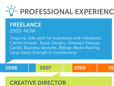 Professional Experience Timeline resume timeline infographic professional experience work history lightbulb icon solid colors