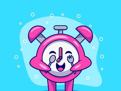 Time To Eat Illustration fork spoon alarm clock breakfast graphic design ux ui logo cartoon branding flat design vector illustration