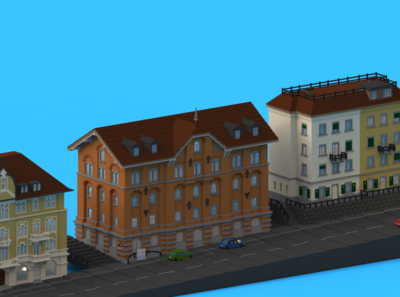 Office Street office building street 3d magicavoxel voxels