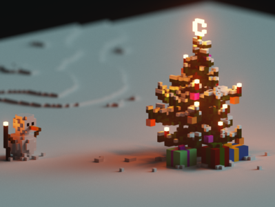 Voxel Christmas snowman 3d magicavoxel voxels christmas tree christmas