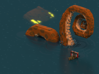Terror from the deep sea monster danger ship 3d magicavoxel voxels octopus tentacle