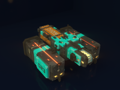 Container Spaceship sci-fi space transport magicavoxel voxelart 3d voxels container spaceship
