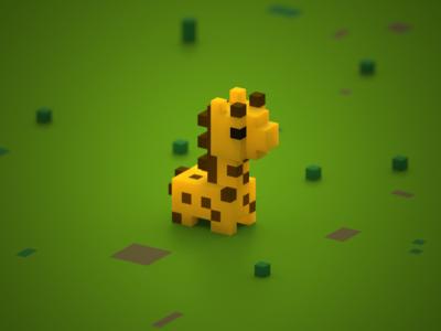 Tiny Giraffe cute mini-zoo 3d magicavoxel voxelart voxels gigi tiny giraffe