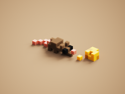 Tiny Rat cute magicavoxel voxelart 3d voxels cheese mini-zoo mini tiny rat
