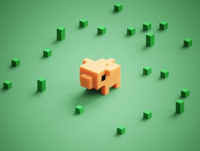 Tiny Pig piglet 3d voxelart magicavoxel voxels piggy cute mini-zoo mini pig tiny