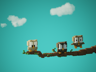 Voxel Owls voxelart branch owls cute animals tiny cute 3d magicavoxel voxels