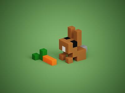 Tiny Bunny minimalistic animal rabbit bunny carrot cute animals mini-zoo mini cute tiny voxelart voxels 3d magicavoxel