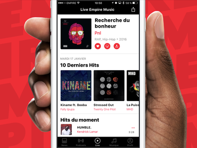 Live Radio 🎧 mobile ui interface app application music player radio web red ios iphone