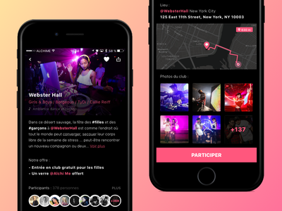 Clubs App - Events 🎉 ux ios iphone flat pink club ui interface mobile app color gradient