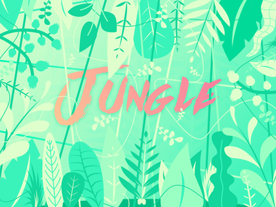 Welcome to the Jungle 🌿 illustration design typography vector jungle gradient plant flower tree flat foliage leaves
