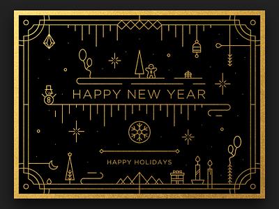 Happy New Year Card 🎊 snow star happy santa holidays graphics merry design illustration icon gift christmas