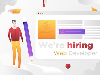 We Are Hiring 🤓 Web Developer 🔥 visual character graphic design illustration developer web community career work jobs hiring