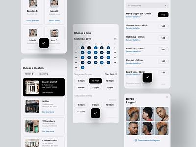Booking flow barber barbershop mobile app ux ui booking app booking