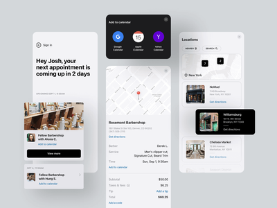Appointment details barbershop barber appointment booking mobile app mobile ux ui