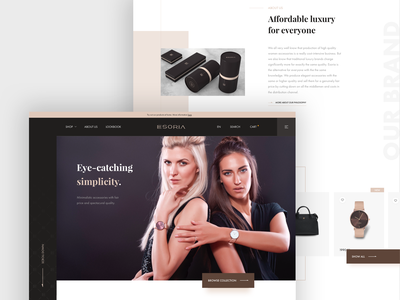 Esoria homepage concept ux ui shop redesign packaging homepage desktop design fashion