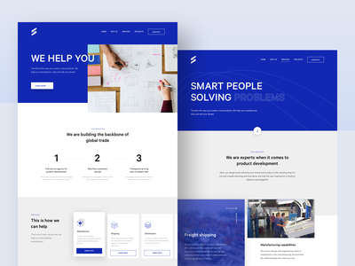 SPLY homepage + services page landing blue shipping web ui ux landing page homepage services webdesign