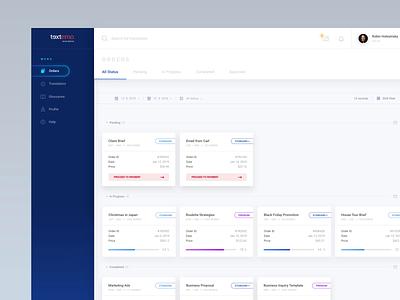 Textemo business dashboard - order detail ae profile minimalism minimal ui ux app dashboard gradient blue