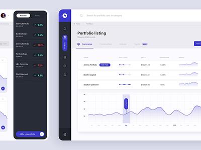 Portfolio Expo dashboard - listing view investing dashboard app ux ui graphs